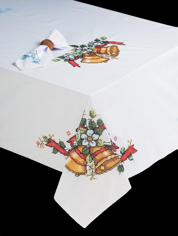 # T201470-104 Christmas Bells Tablecloth