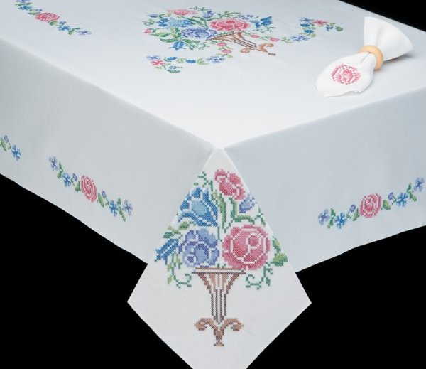 # T202789-58RD Victorian Floral Tablecloth