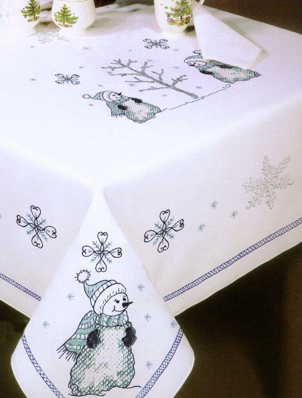 # T202785-58RD Blue Snowmen Tablecloth
