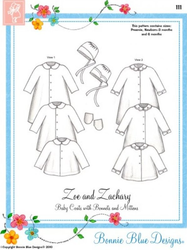 Zoe & Zachary #111 - Baby Coats with Bonnets and Mittens
