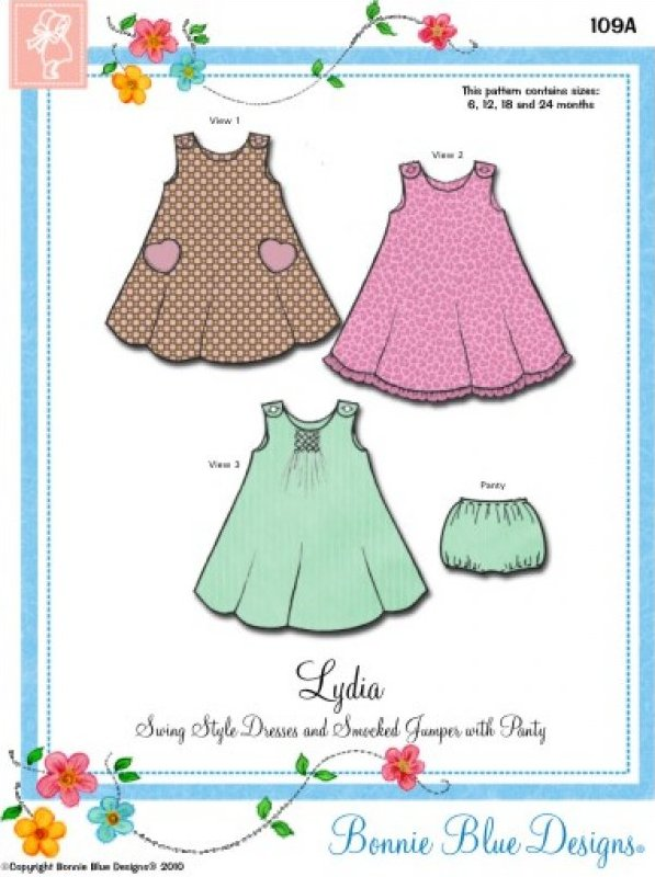 Lydia #109A - Swing Style Dresses Smocked Jumper with Panty