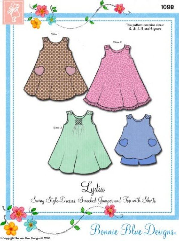 Lydia #109B - Swing Style Dresses Smocked Jumper and Top with Shorts
