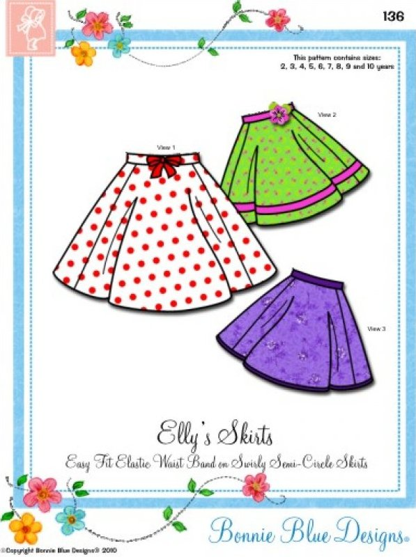 Elly's Skirts - #136 - Easy Fit Elastic Waist Band on Swirly Semi-Circle Skirts