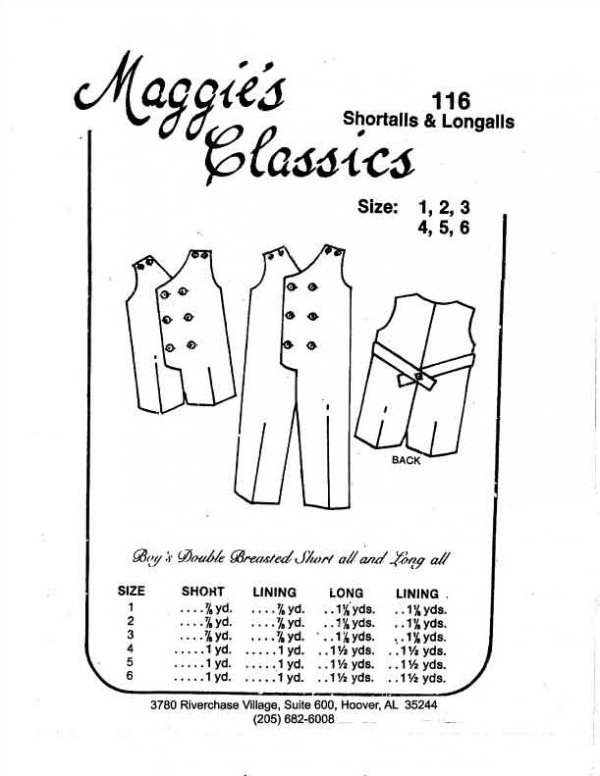 Maggie's Classics - Boy's Double Breasted Shortalls & Longalls #116