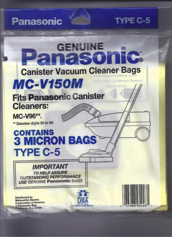 Type C-5 Panasonic #MC-V150M MICRON Bag- 3 pack