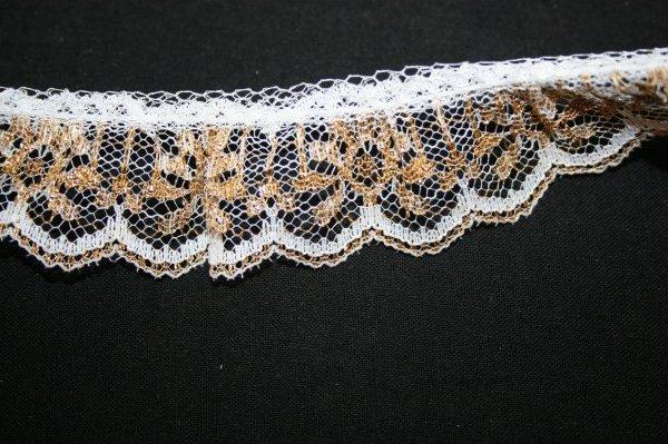 Ruffled Lace White Gold Metallic