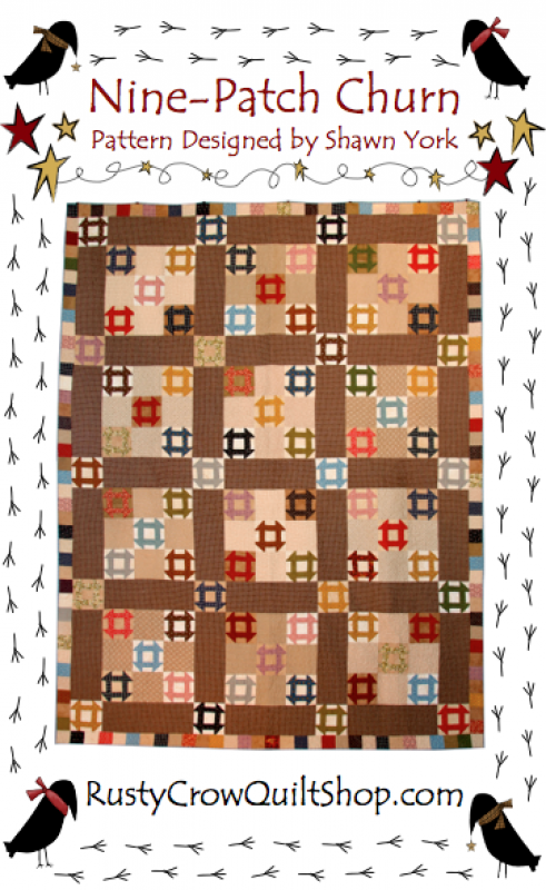 Nine-Patch Churn Quilt Pattern by Rusty Crow Quilts