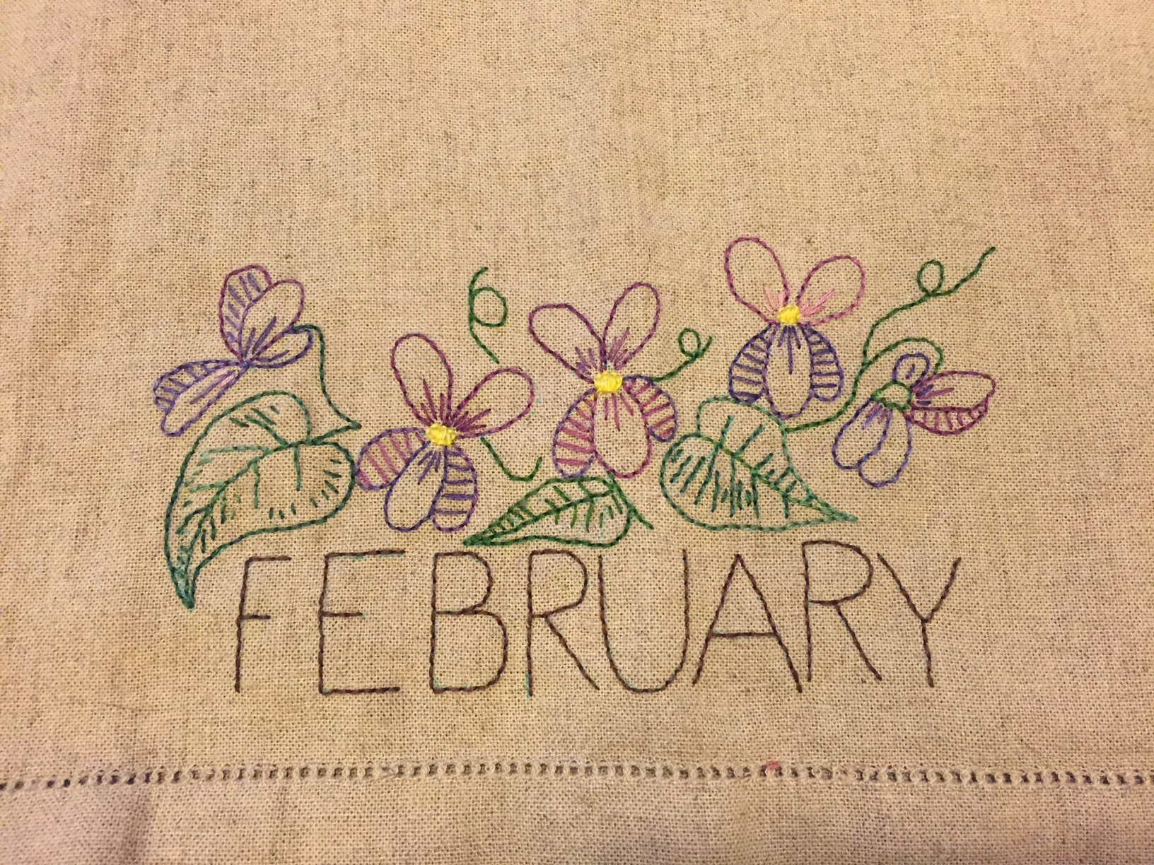 February Embroidery towel pattern