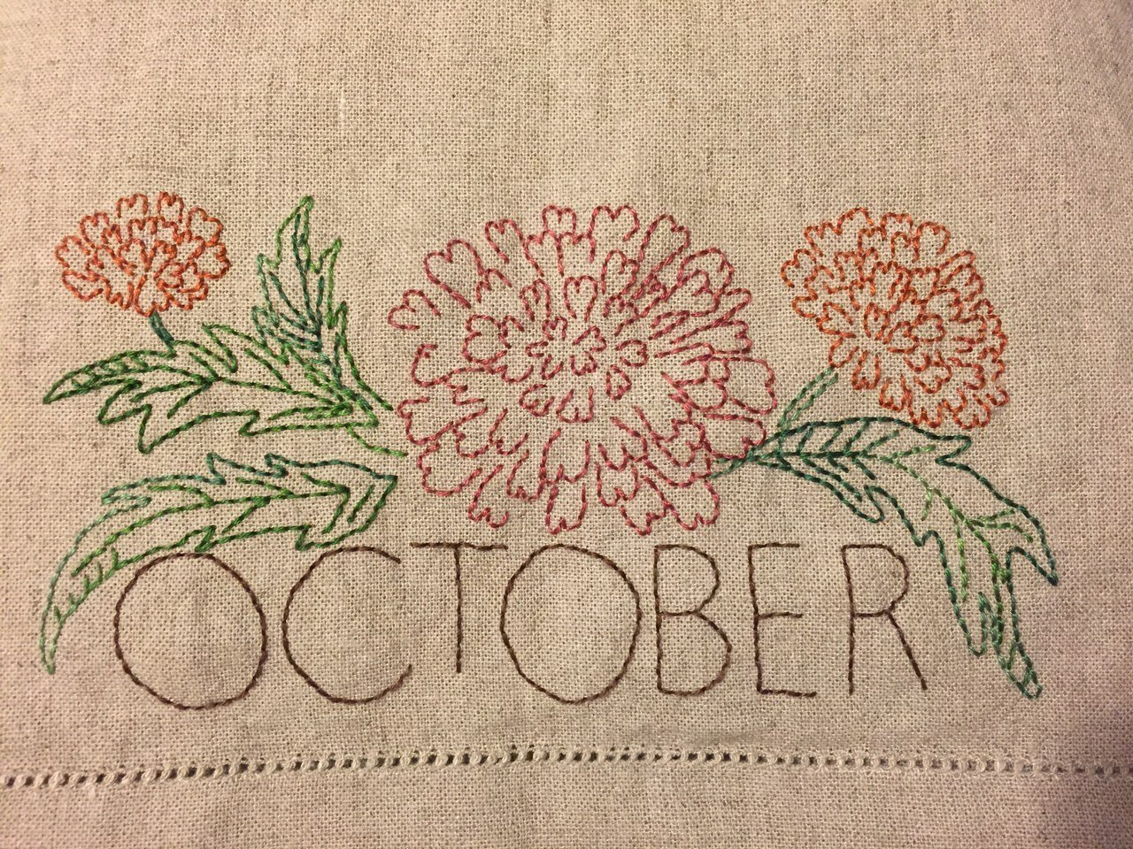 October Embroidery Towel