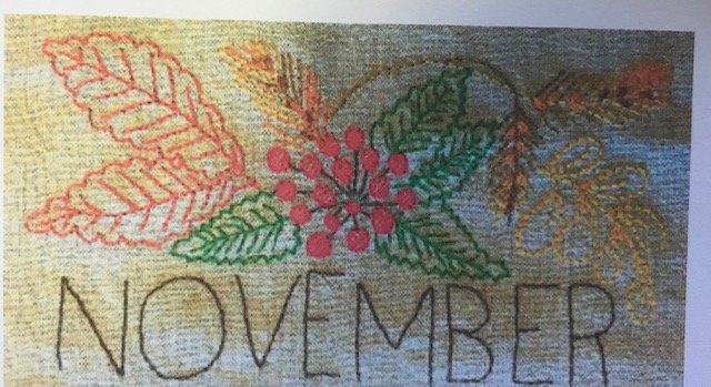 November Embroidery towel pattern