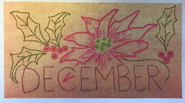 December Embroidery towel pattern