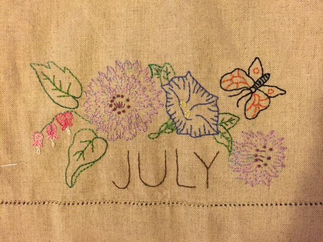 July Embroidery Towel