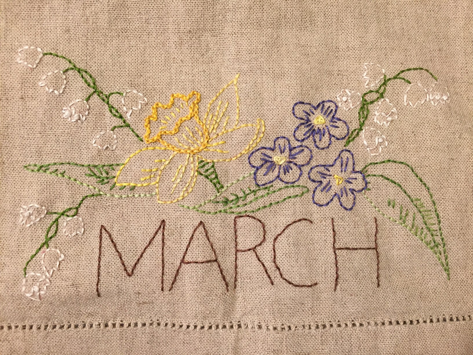 March Embroidery towel pattern