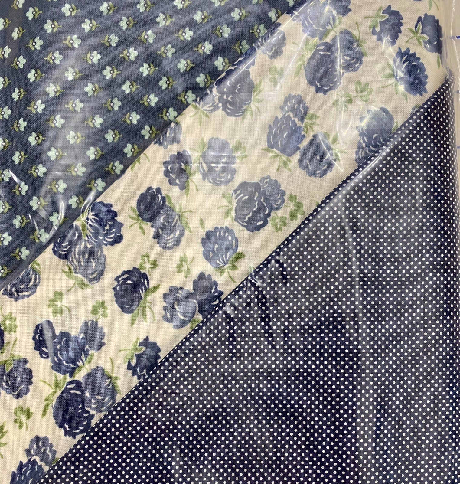 At Home 3 yd bundle navy flowers and dots