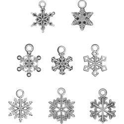 dea-Ology Metal Adornments .5 To .625 8/Pkg Antique Nickel Snowflakes