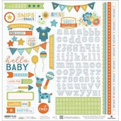 Hello Baby Cardstock Stickers 12X12 Blue