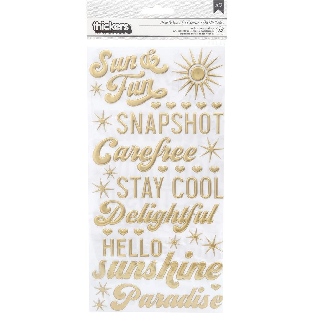 Dear Lizzy Here & Now Thickers Stickers 132/Pkg-Heat Wave Phrase & Icons/Puffy