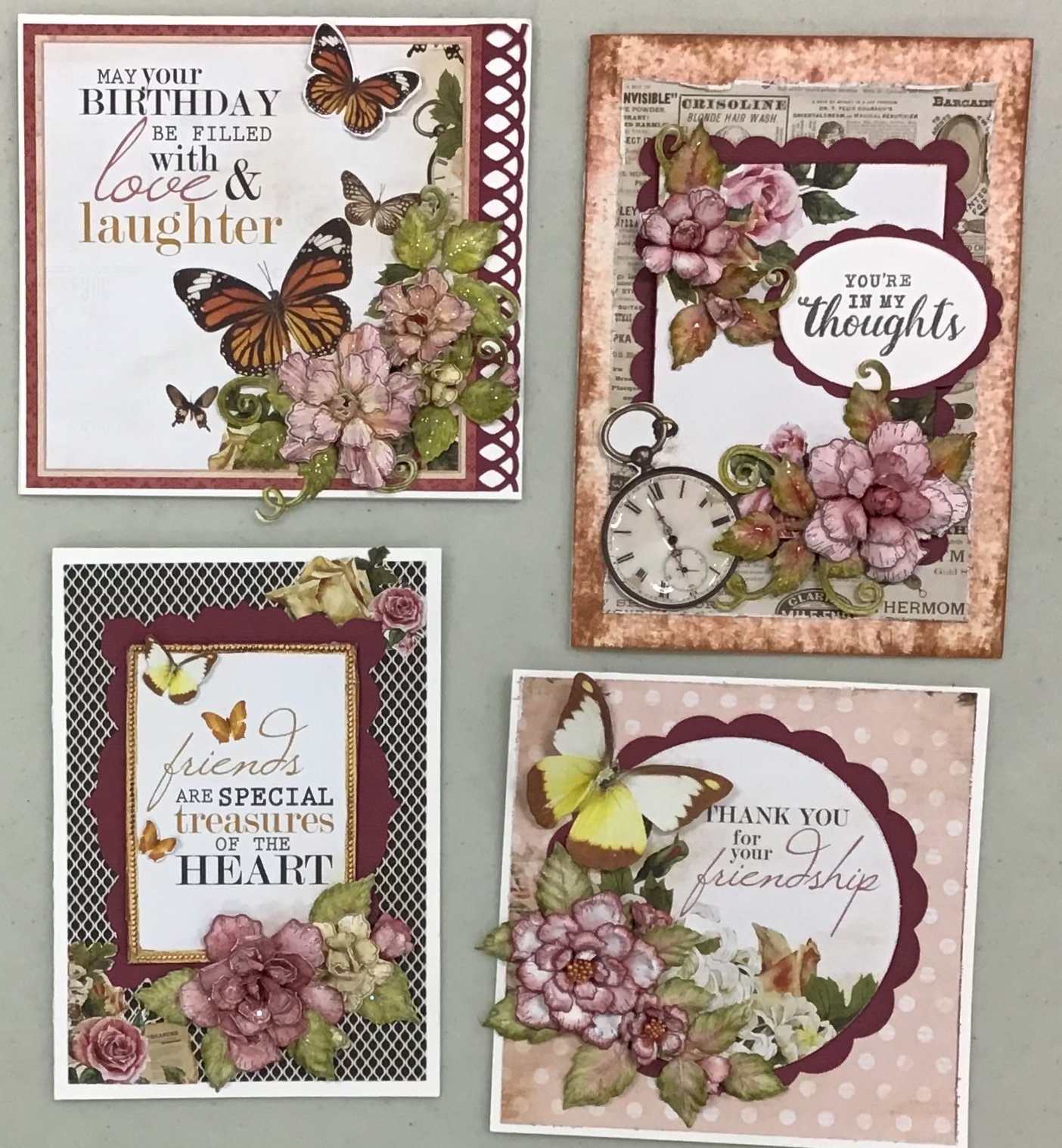 Friendship cards with Monarch makes 4 Cards