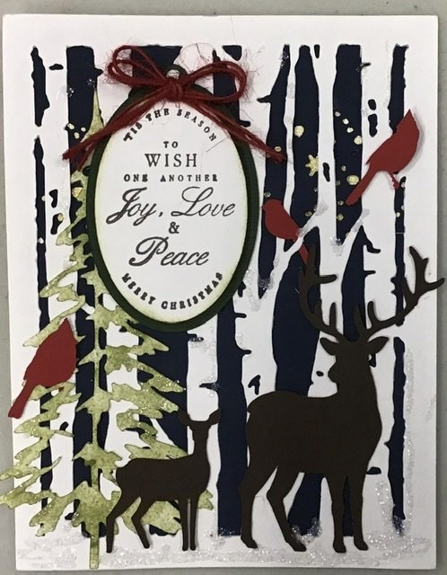Christmas card with deer and star background