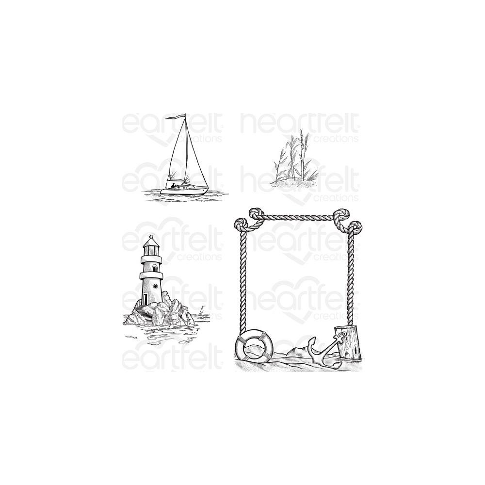Heartfelt Creations Cling Rubber Stamp  and die Set-A Day At Sea