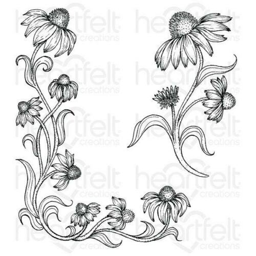 Heartfelt Creations Cling Rubber Stamp  and die Set Blossoming Coneflower