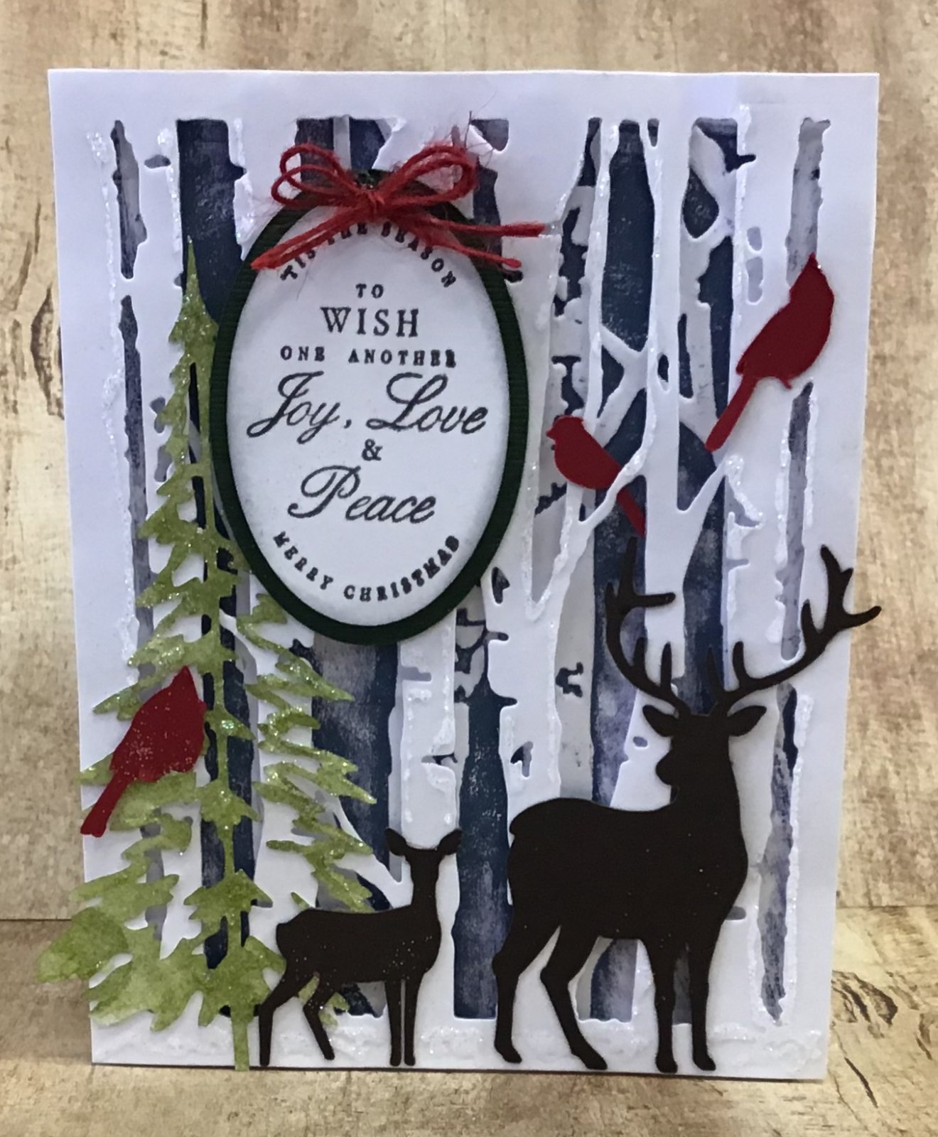 Deer Card with embossed background Navy