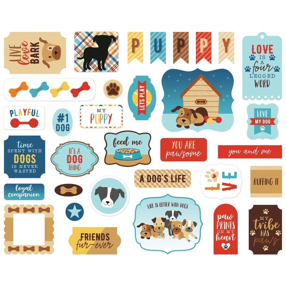 Echo Park Cardstock Ephemera 33/Pkg-Icons, I Love My Dog
