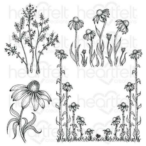 Heartfelt Creations Cling Rubber Stamp  and die Set-Gardens Edge Coneflower