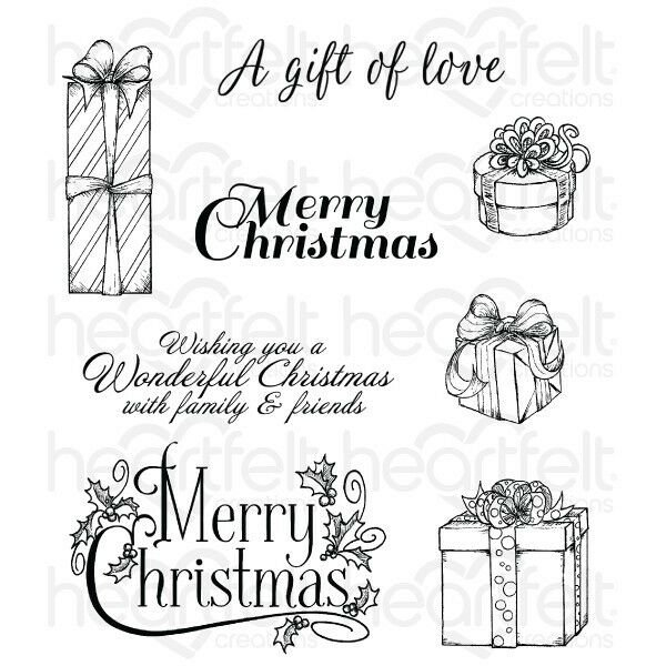 Heartfelt Creations two  Rubber Stamp sets Cling  and one die Set Gift wrapped presents and ornate Sleigh