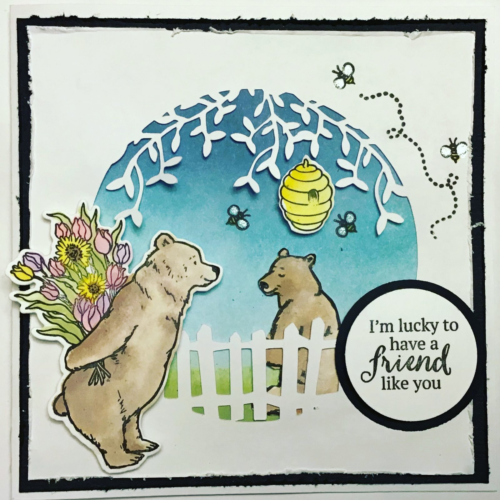 Bear Card Friendship Card-  for Copic and watercolur