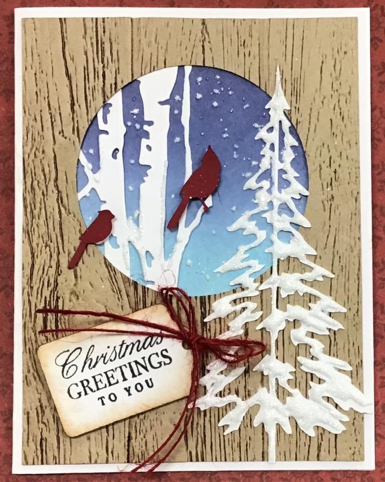 Cardinal Christmas Card with birch tree
