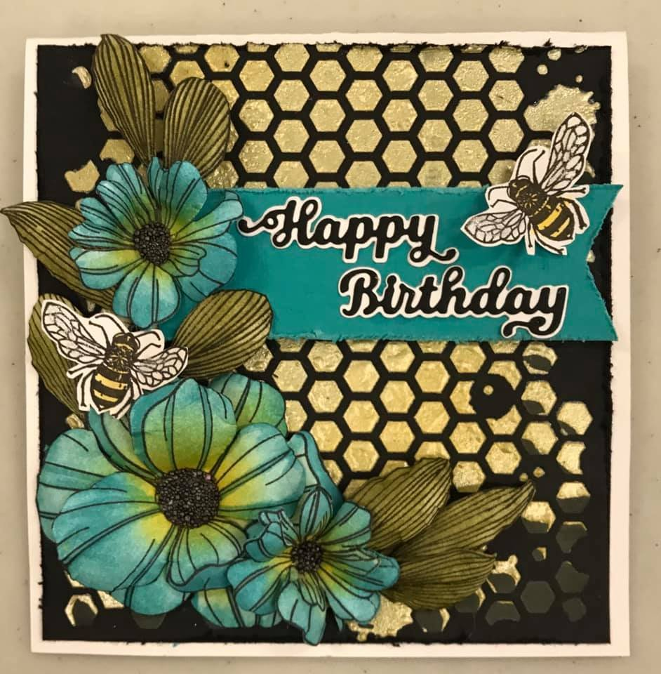 Happy Birthday Bee Card vb flowers