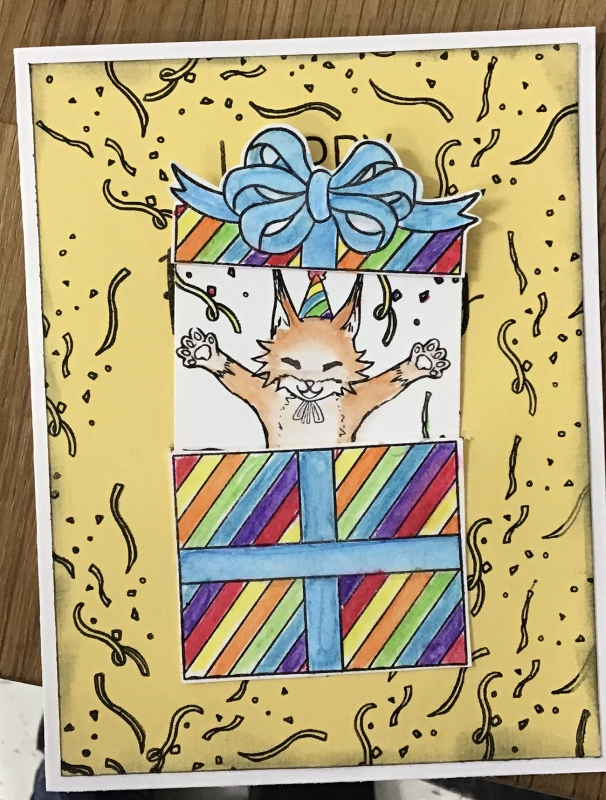 Happy Birthday  Present pop up fox Card stamped with Memento for Copic markers