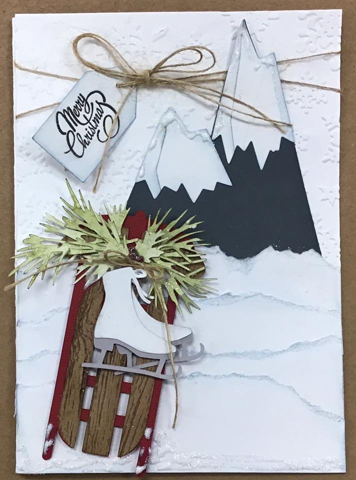Sleigh Christmas card With mountain