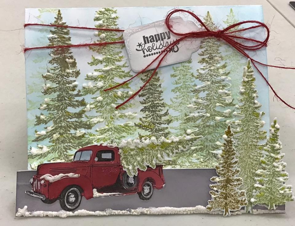 Happy Holidays Red truck Christmas step card
