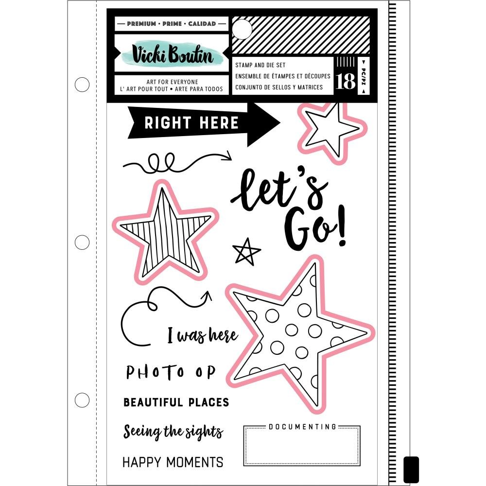 Vicki Boutin Mixed Media Stamps & Dies-Let's Go W/Magnetic Sheet & Pouch