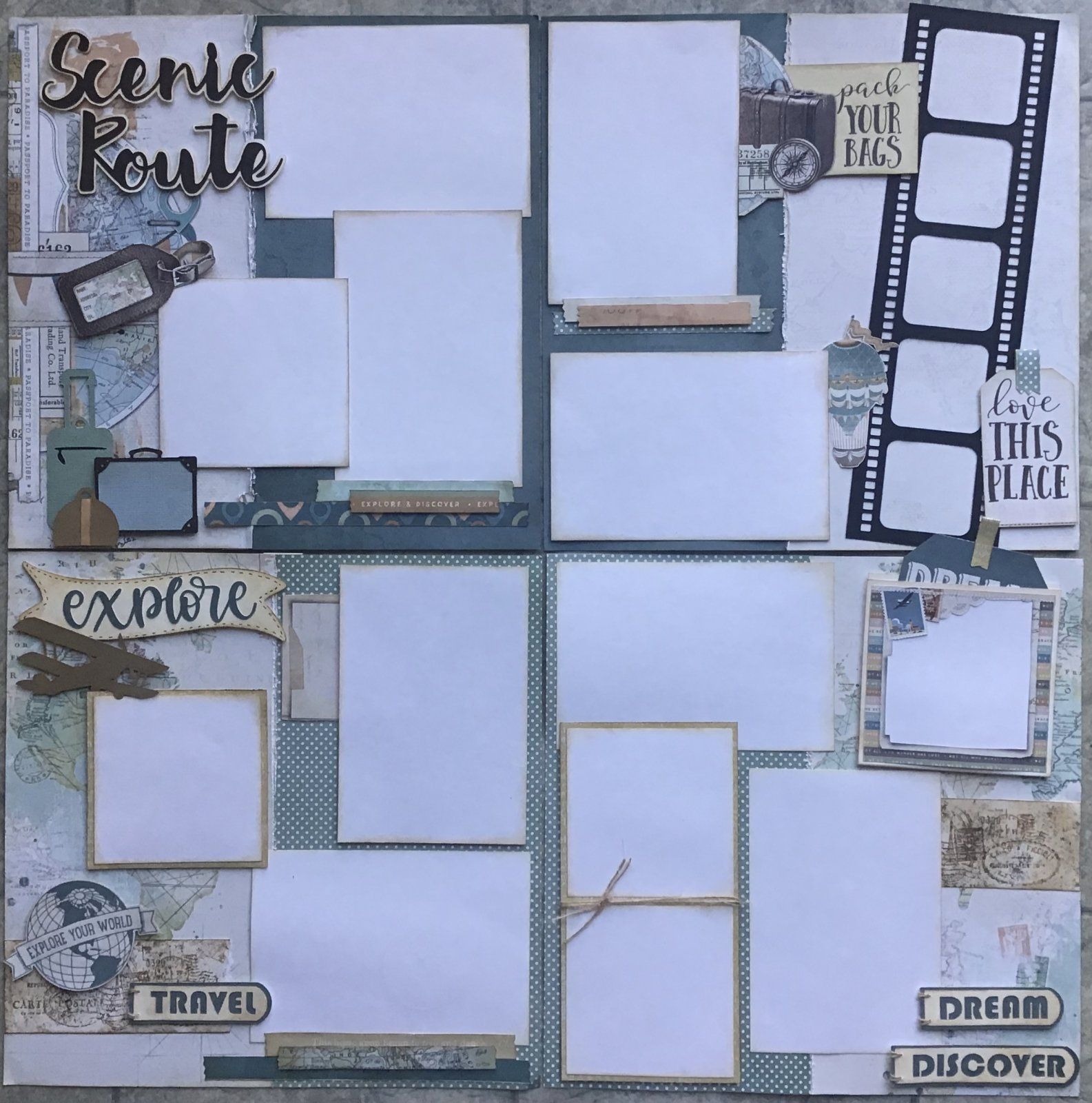 Scenic Route Travel Layout two double pages