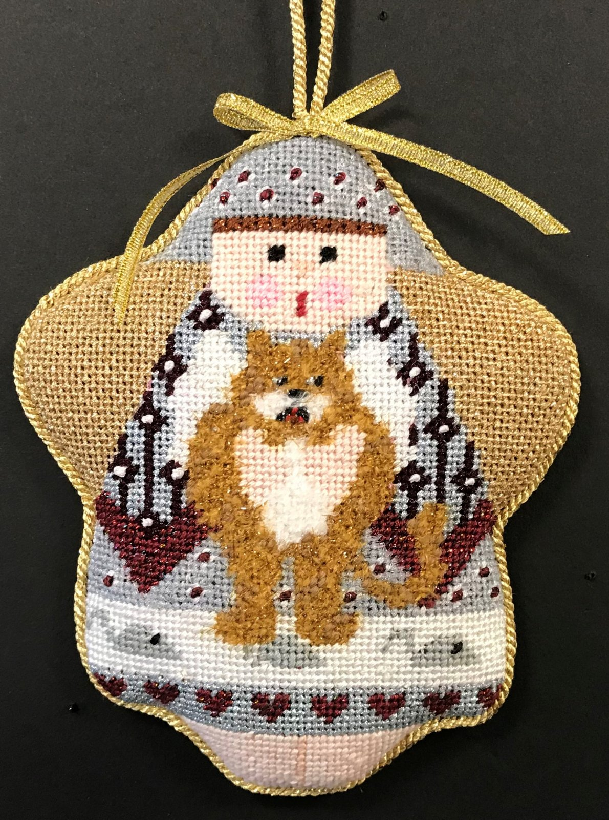 Adele Cat Angel Ornament - stitched by Linda W.