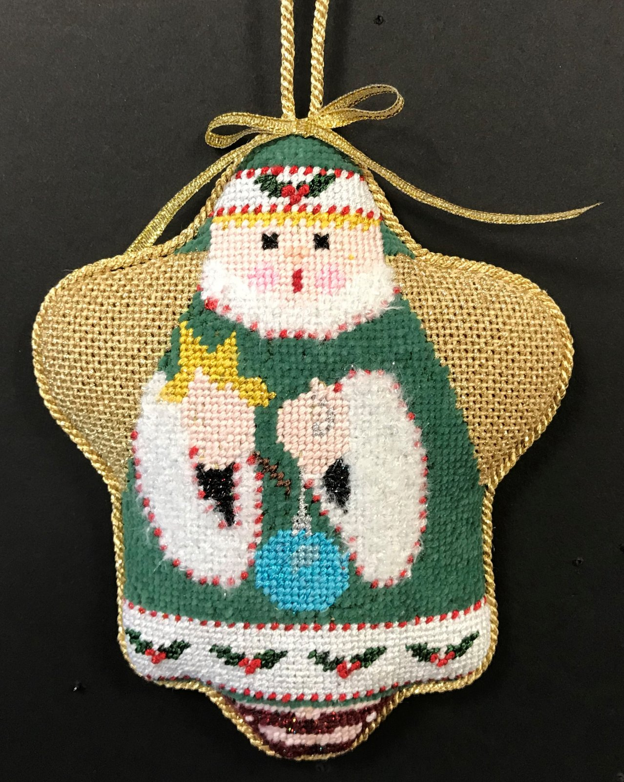 Green Angel Ornament - stitched by Linda Wenner