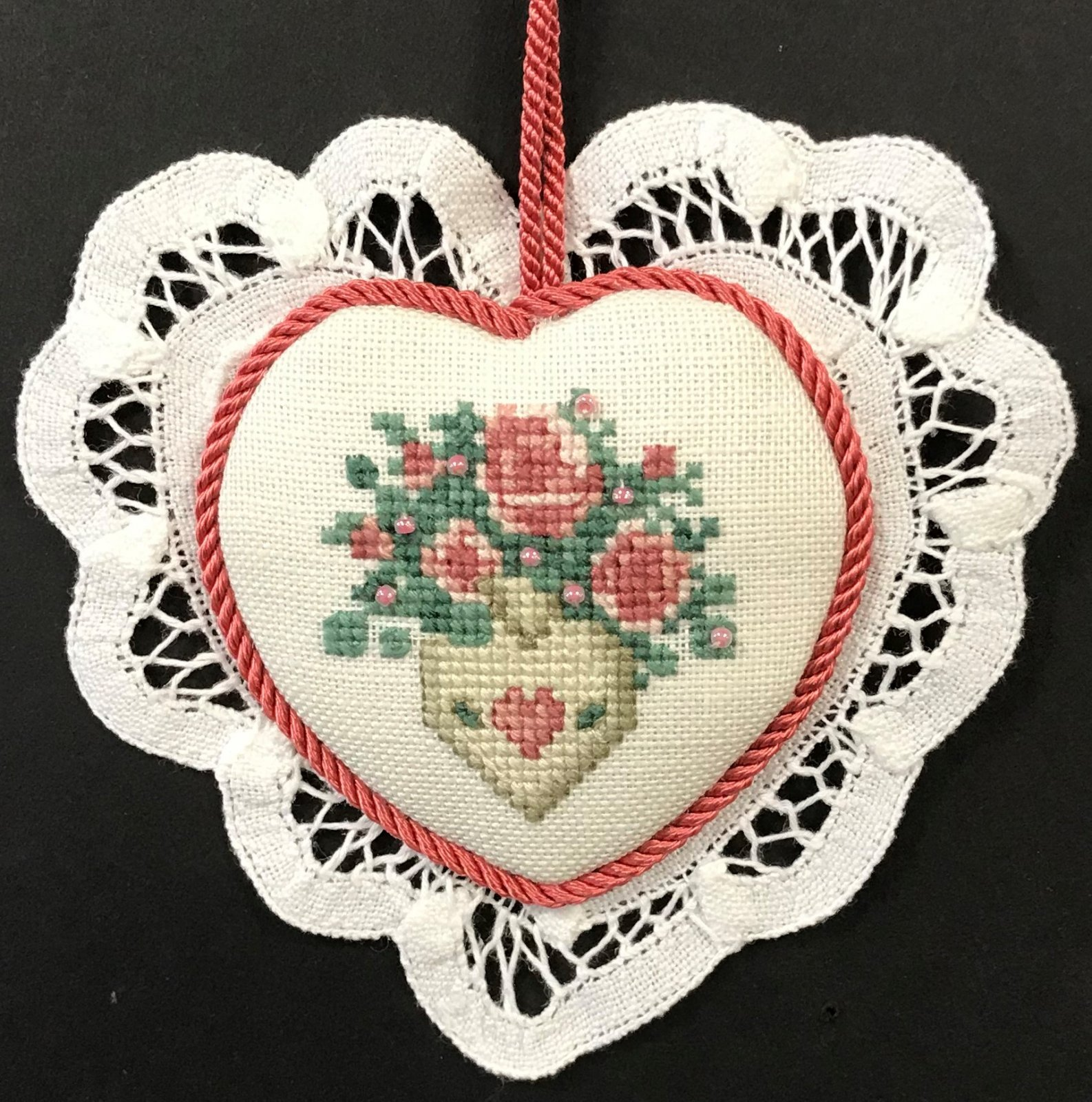 Heart Applique Ornament - stitched by Barbara S.