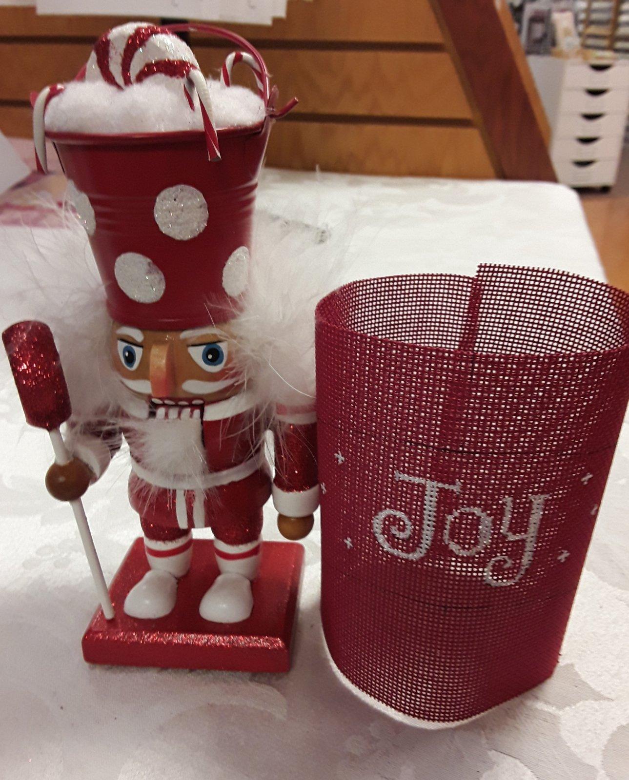 Red Nutcracker with Joy Canvas