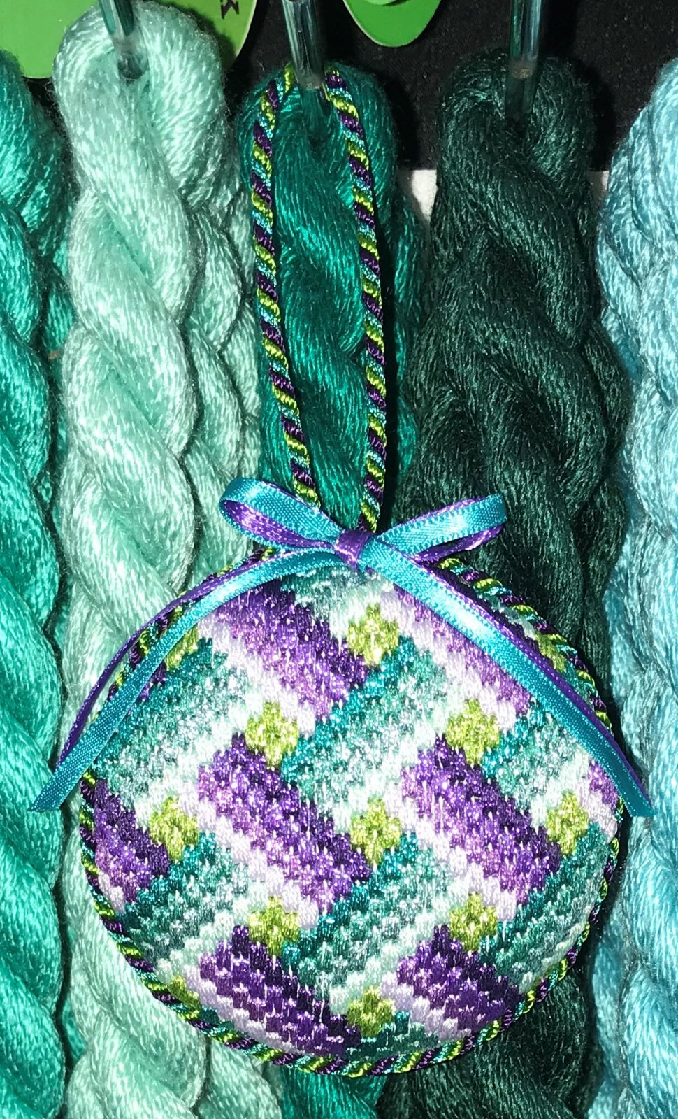Purple & Teal Ribbons Ornament - Stitched by Deby T.