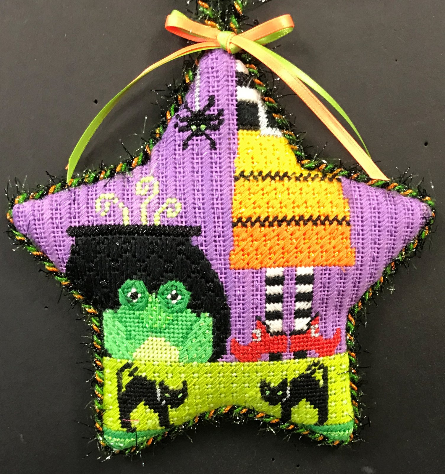 Halloween Star Ornament - Stitched by Cindy C.