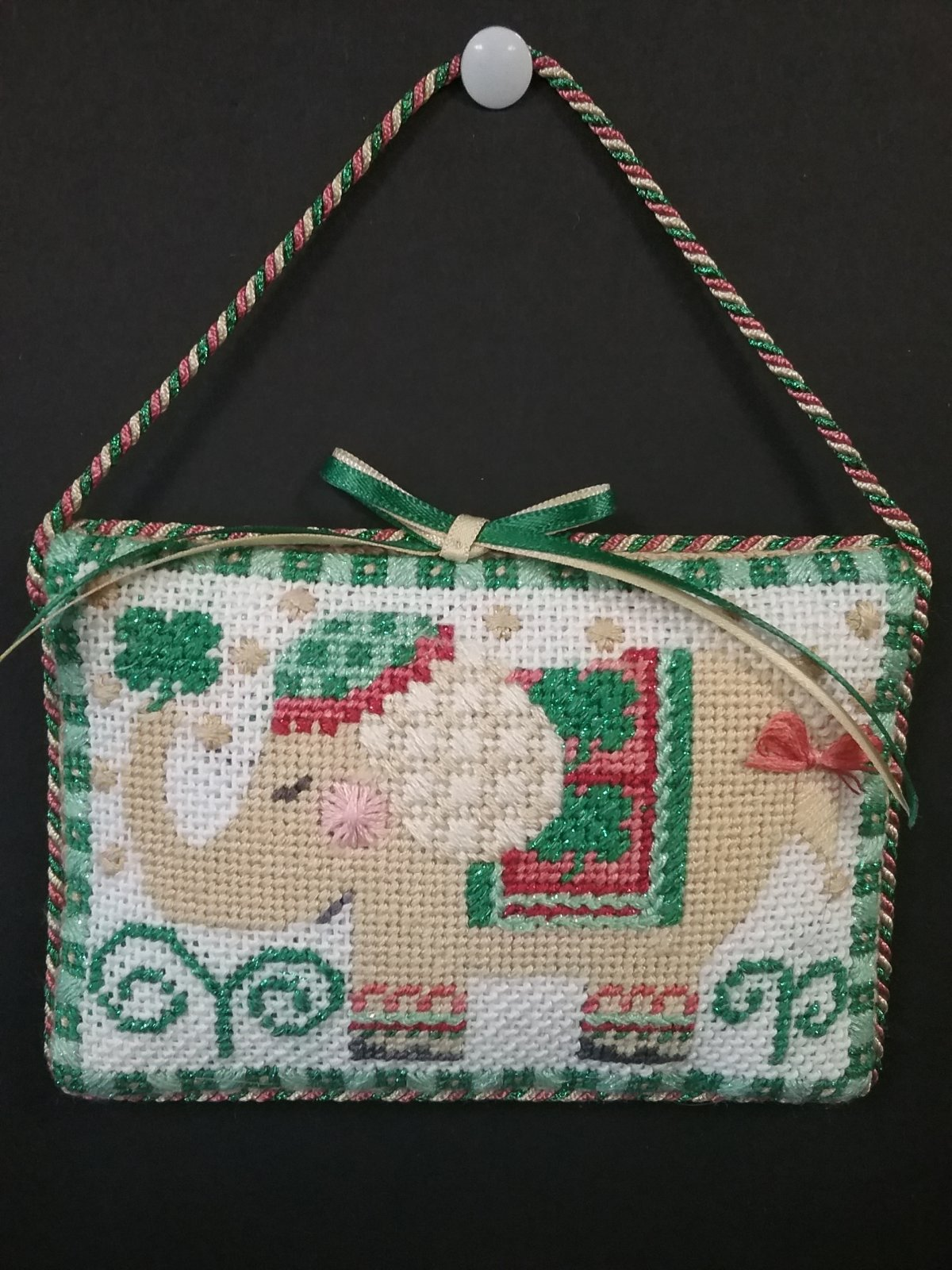 Danji St. Patrick's Elephant Ornament- Stitched by Cindy C.