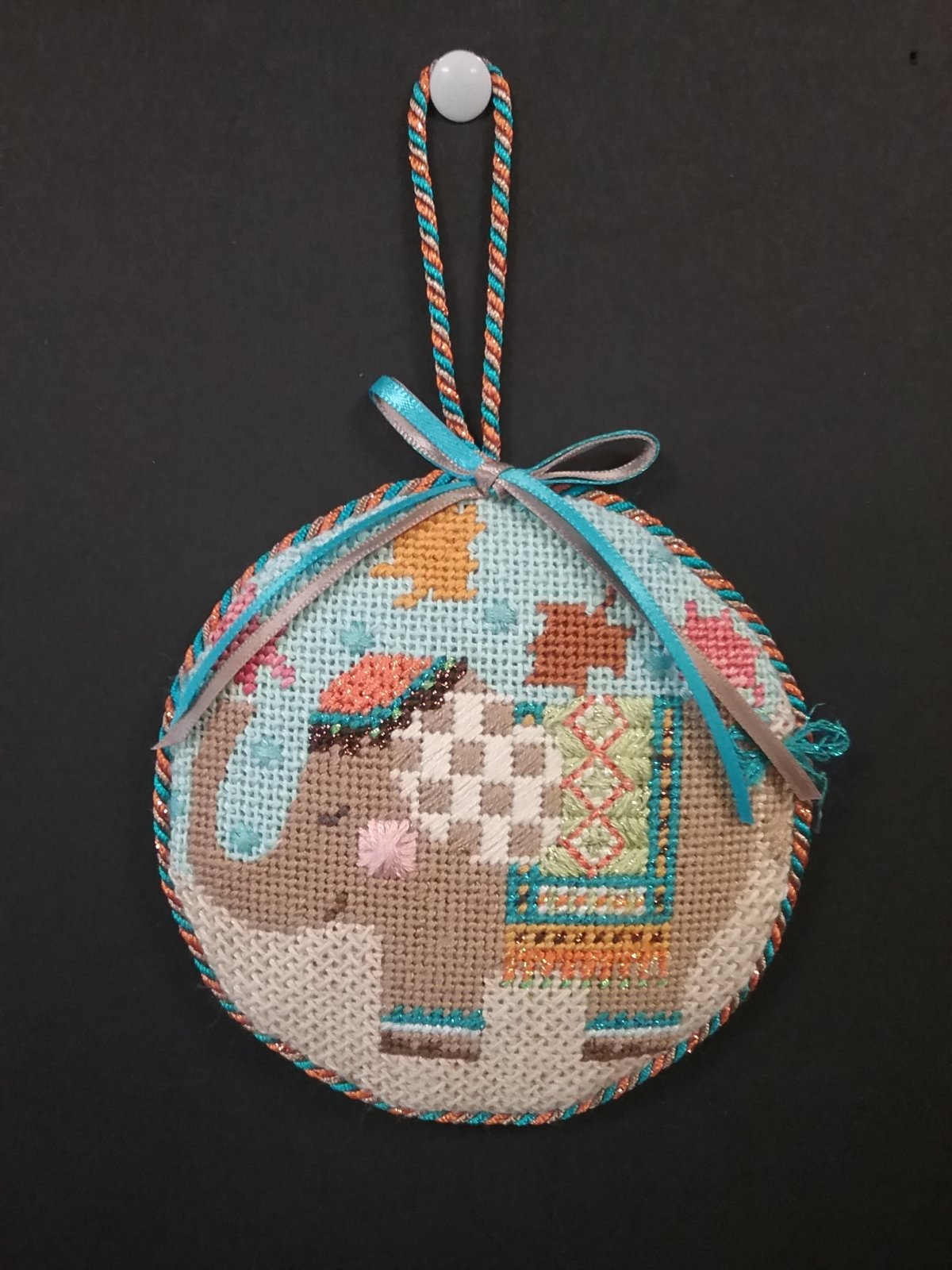 Danji Fall Elephant Ornament- Stitched by Cindy C.