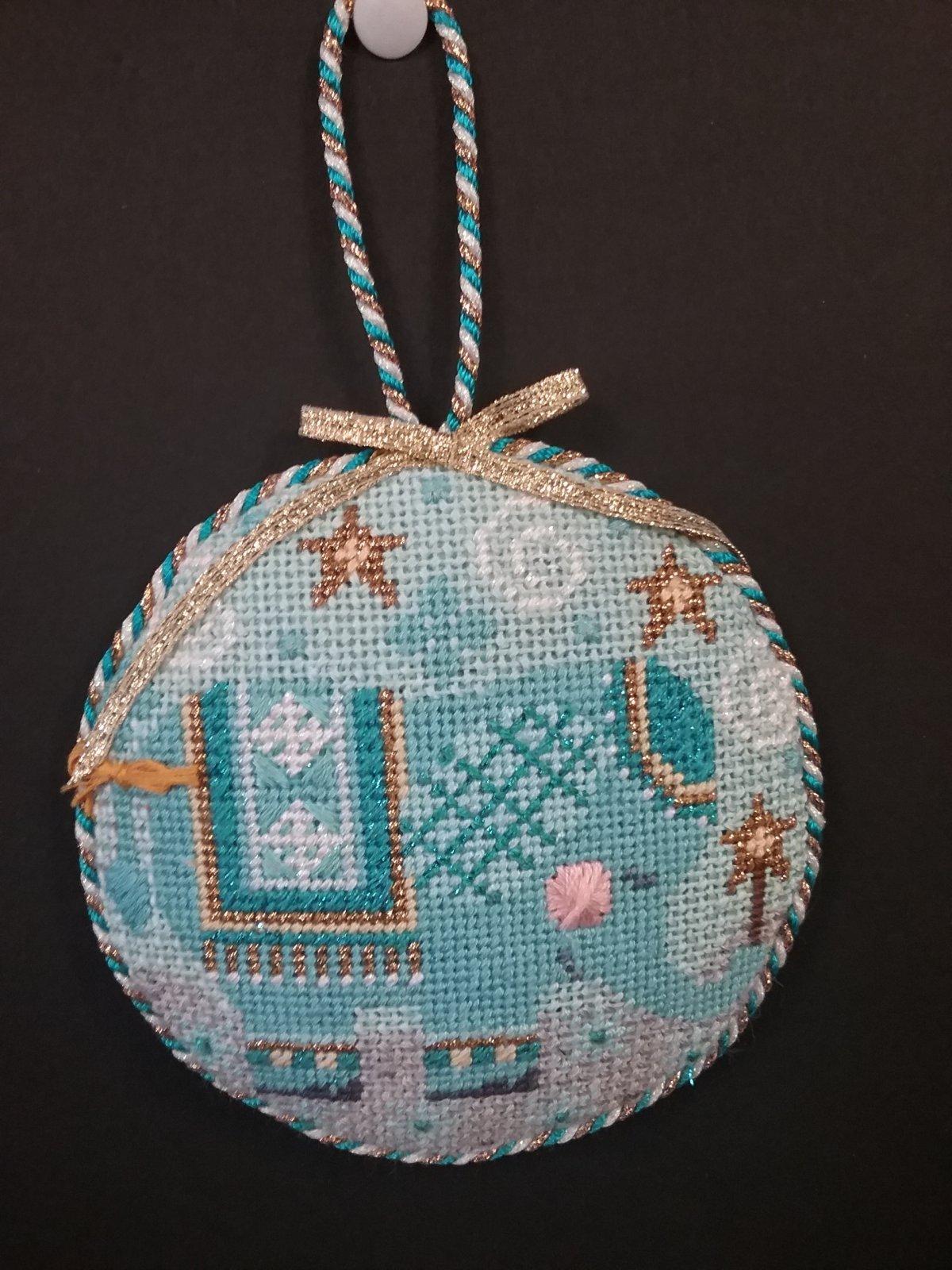 Danji Blue Elephant Ornament- Stitched by Cindy C.