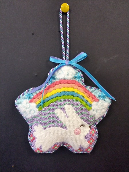 White Bunny w/ Rainbow Ornament - Stitched by Cindy C.