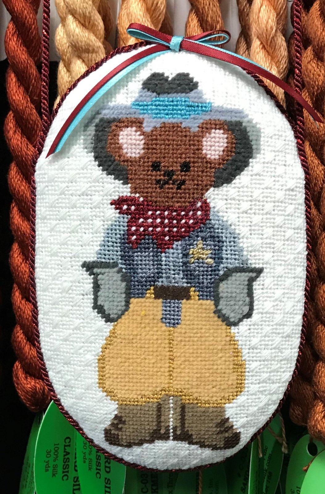 Cowboy Bear Ornament - Stitched by Linda W.