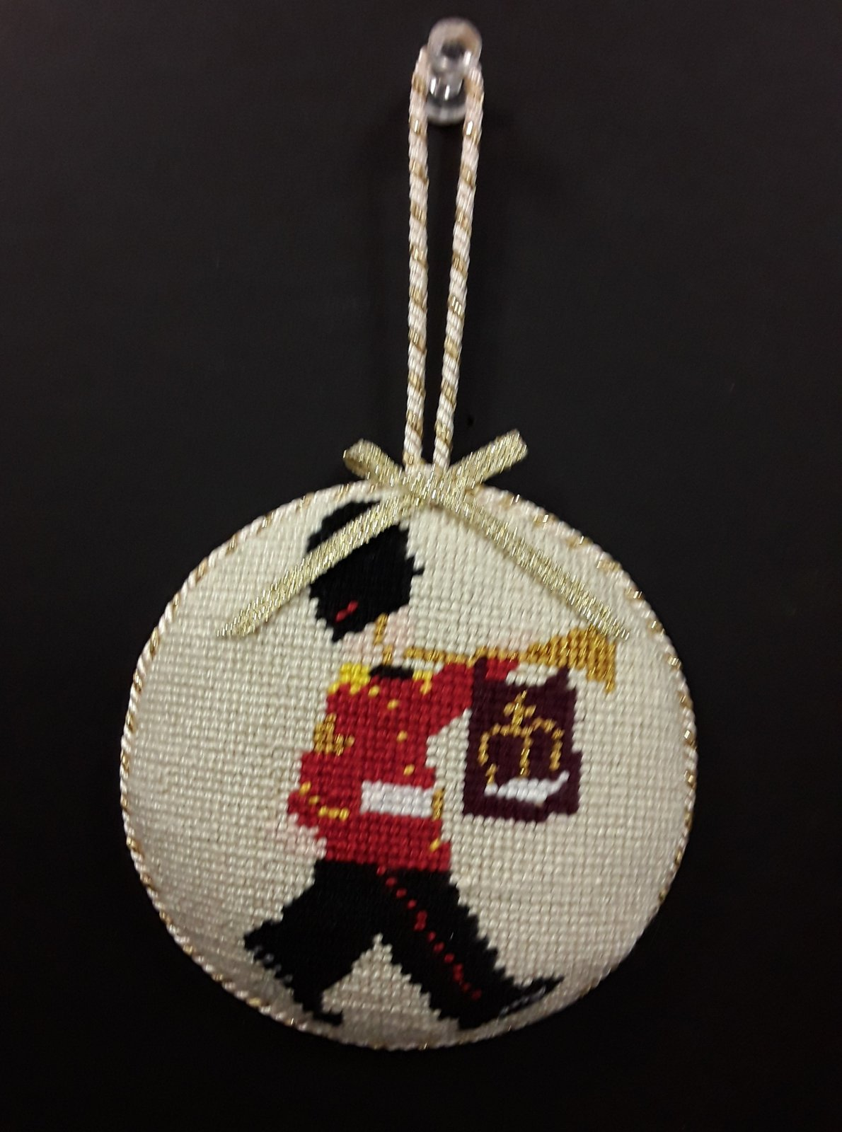 Beefeater w/Horn Ornament - Stitched By Barbara K.