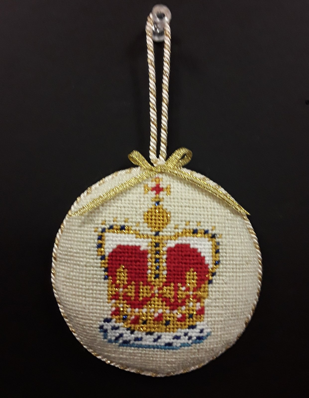 British Crown Ornament - Stitched By Barbara K.